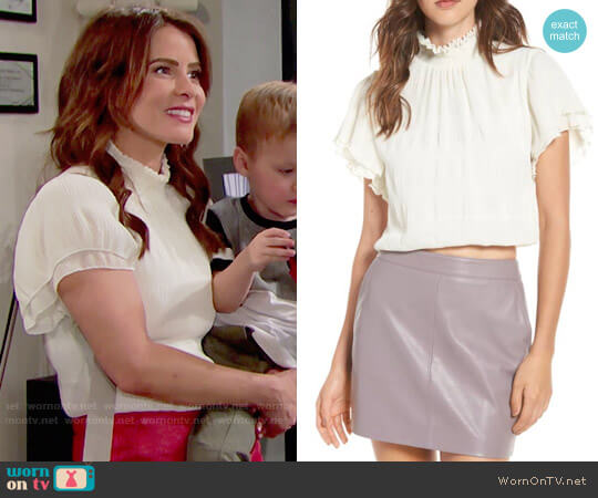 ASTR Smocked Neck Crop Top worn by Linsey Godfrey on The Bold & the Beautiful
