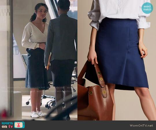 Balenciaga Asymmetric Cotton Skirt worn by Kat on The Bold Type