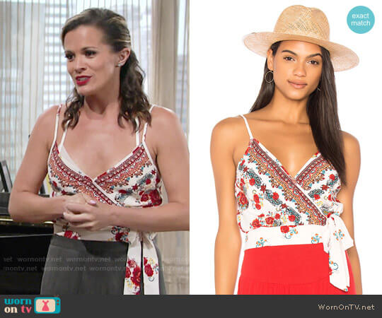 Band of Gypsies Rose Tie Crop Top worn by Melissa Claire Egan on The Young & the Restless