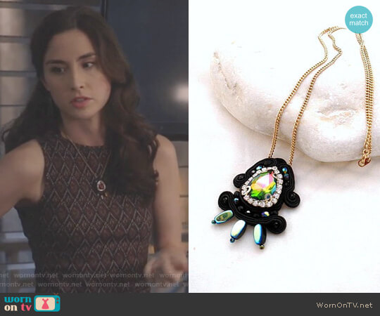 Black Boho Chic Crystal Necklace by Beads of Aquarius worn by Allison Scagliotti on Stitchers