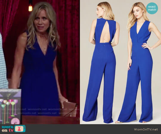 Bebe Wide Leg V-neck Jumpsuit worn by Tamara Clatterbuck on The Young & the Restless