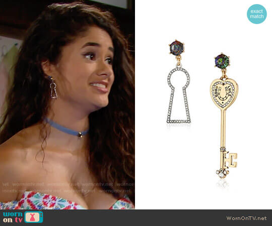 Betsey Johnson Lock & Key Non-Matching Drop Earrings worn by Darlita (Danube Hermosillo) on The Bold & the Beautiful