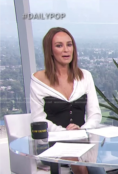 Catt's black button corset top on E! News Daily Pop