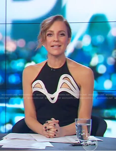 Carrie's black sleeveless cutout dress on The Project