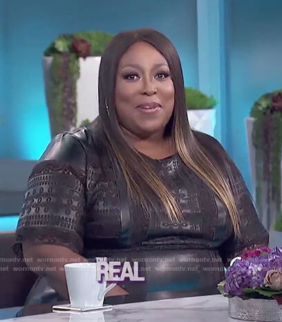 Loni's black embroidered leather dress on The Real