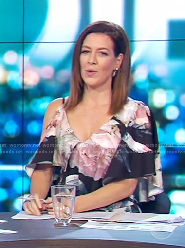 Gorgi's black floral asymmetrical dress on The Project