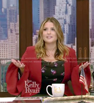 Sisanie's black floral cold-shoulder top and red blazer on Live with Kelly and Ryan