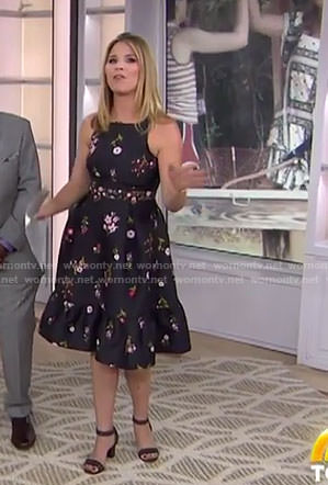 Jenna's black floral flare dress on Today
