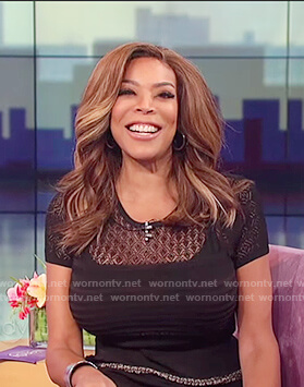 Wendy's black knitted lace insert dress on The Wendy Williams Show