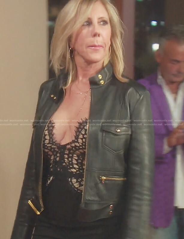 Vicki's black leather biker jacket on The Real Housewives of OC