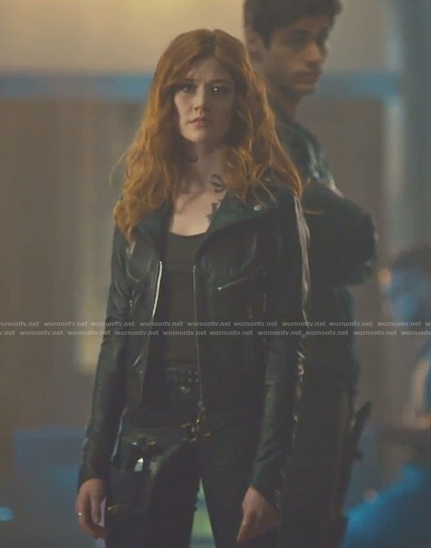 Clary's black moto jacket on Shadowhunters
