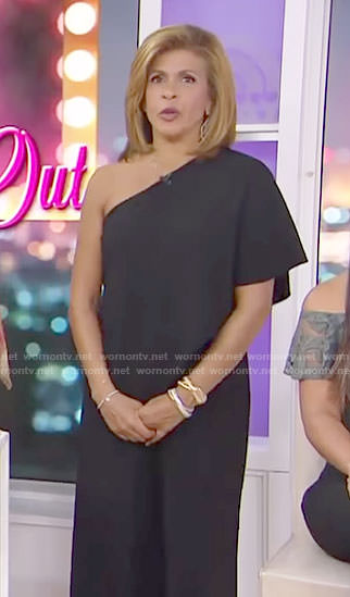 Hoda's black one shoulder jumpsuit on Today