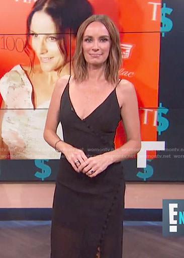 Catt's black v-neck sheer dress on E! News