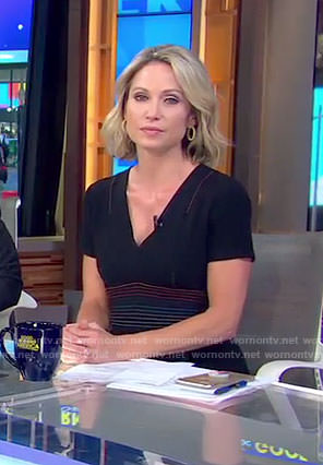 Amy's black v-neck tailored dress on Good Morning America