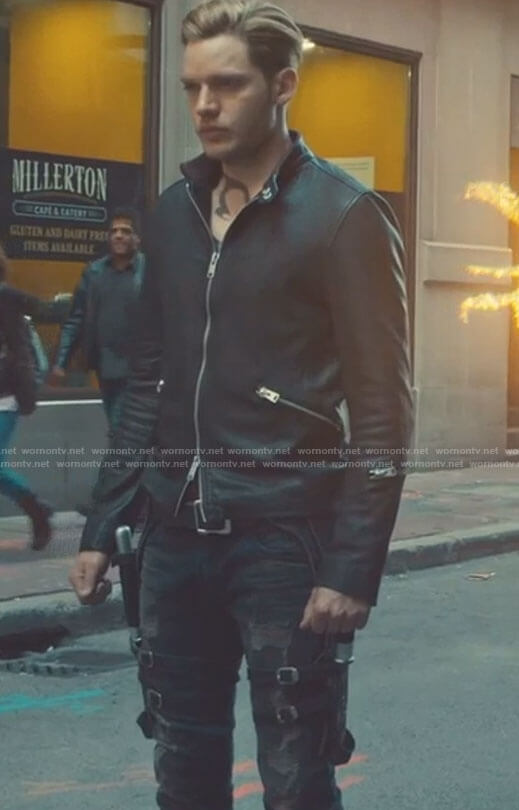 Jace's black zip front jacket and distressed jeans on Shadowhunters