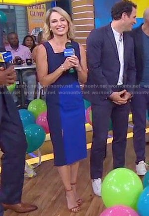 Amy's blue and black front slit dress on Good Morning America