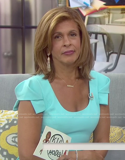 Hoda's blue cap sleeve sheath dress on Today