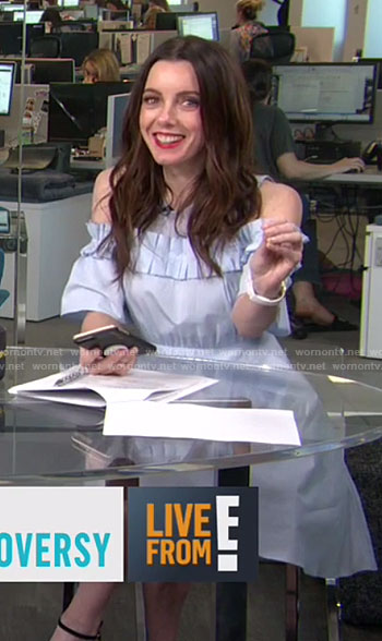Melanie's blue cold-shoulder ruffle dress on E! News