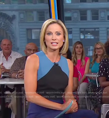 Amy's blue color-block sleeveless dress on Good Morning America