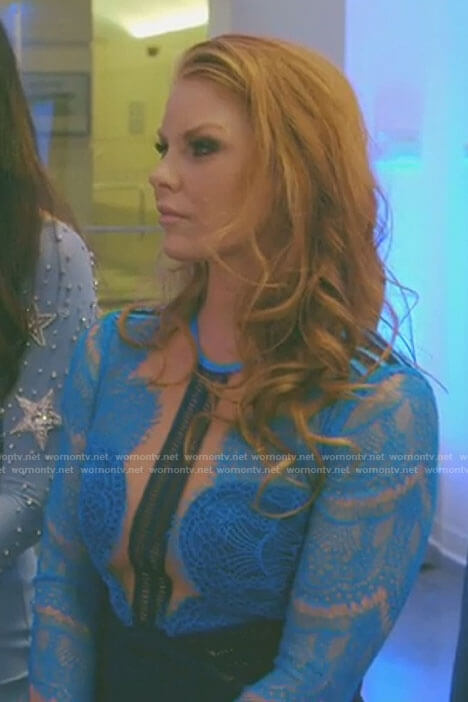 Brandi's blue lace illusion dress on The Real Housewives of Dallas