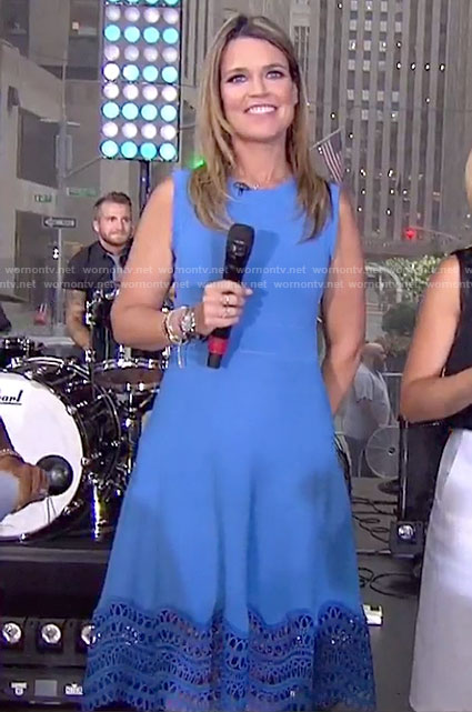 Savannah's blue lace trim dress on Today