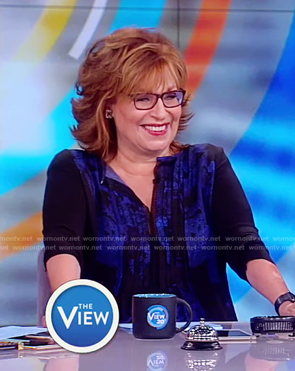 Joy's blue and black blouse on The View