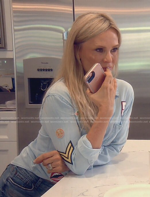 Tamra's blue button down shirt with patches on The Real Housewives of OC