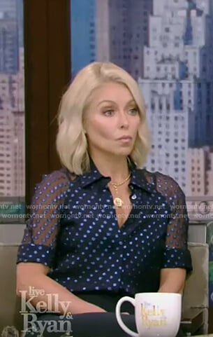 Kelly's blue polka dot chiffon top on Live with Kelly and Ryan