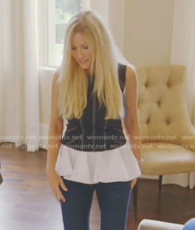 Stephanie's blue striped layered top on The Real Housewives of Dallas