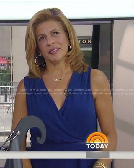 Hoda's blue v-neck jumpsuit on Today