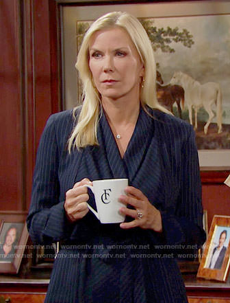 Brooke's pinstriped wrap jacket on The Bold and the Beautiful