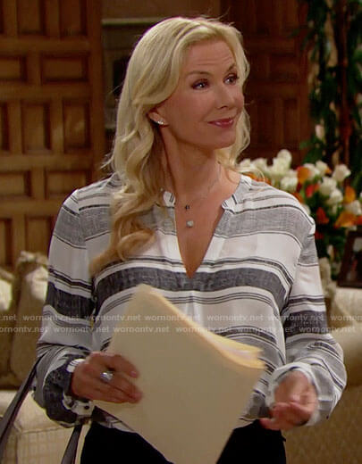 Brooke's striped v-neck top on The Bold and the Beautiful