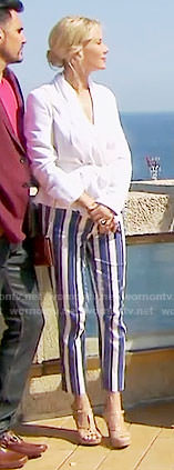 Brooke's blue striped pants in Monaco on The Bold and the Beautiful