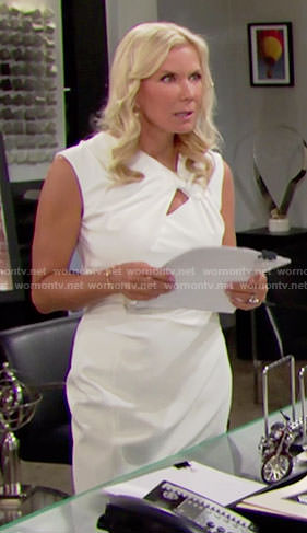 Brooke's white sheath dress with twisted cutout on The Bold and the Beautiful