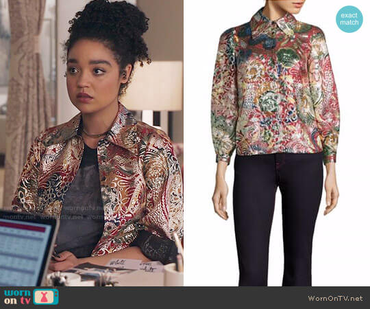 Burberry Floral Metallic Jacquard Flared-Sleeve Shirt worn by Kat Edison (Aisha Dee) on The Bold Type