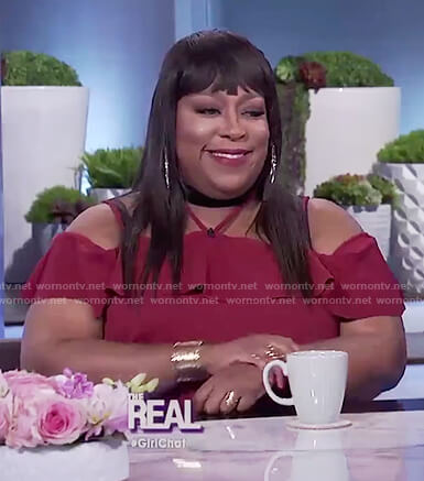 Loni's red halter neck ruffle dress on The Real