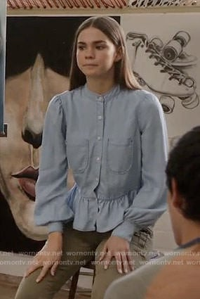 Callie's chambray ruffled shirt on The Fosters