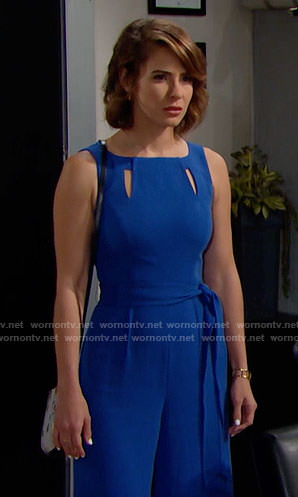 Caroline's blue jumpsuit with cutouts on The Bold and the Beautiful