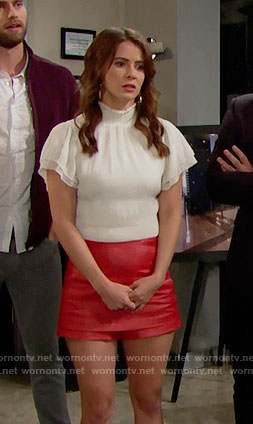 Caroline's white smocked neck top on The Bold and the Beautiful