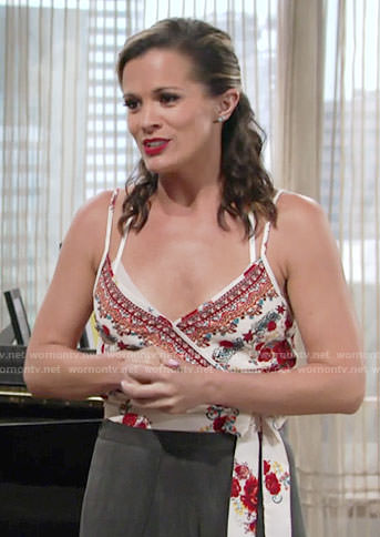 Chelsea's red floral print wrap top on The Young and the Restless