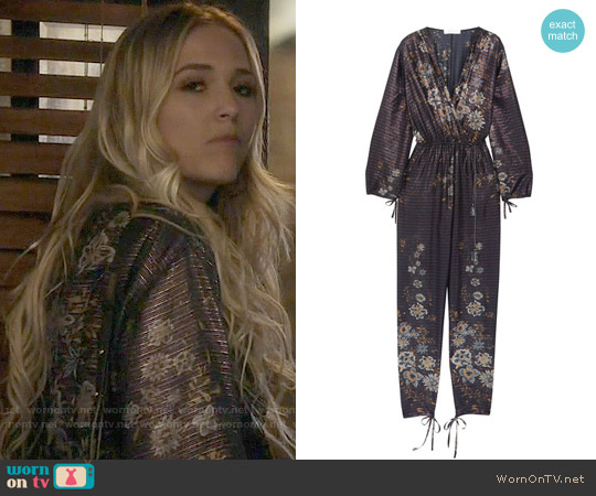 Chloe Metallic striped floral-print cotton-blend jumpsuit worn by Lennon Stella on Nashville
