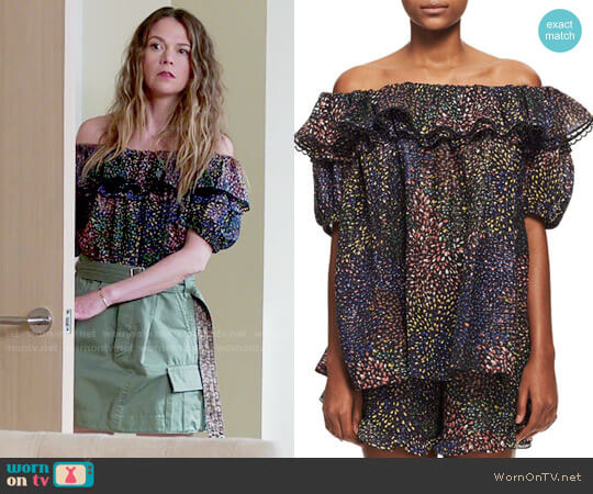 Chloe Off-Shoulder Fireworks Top worn by Sutton Foster on Younger