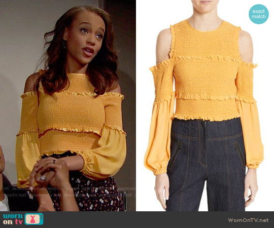 Cinq a Sept Pascal Top in Sienna worn by Nicole Avant (Reign Edwards) on The Bold & the Beautiful