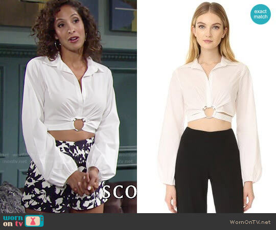 Cinq a Sept Trillian Top worn by Christel Khalil on The Young & the Restless