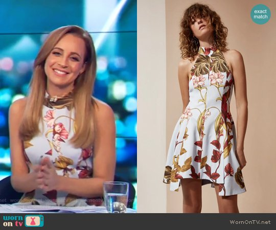 Fusion Short Sleeve Dress by C/Meo Collective worn by Carrie Bickmore on The Project