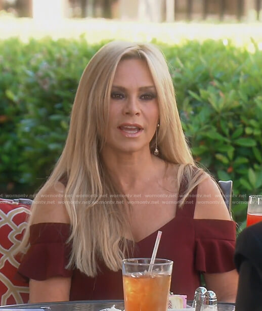 Tamra's burgundy cold shoulder top on The Real Housewives of OC