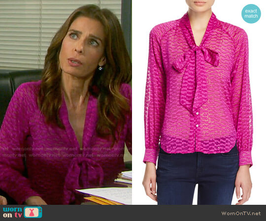 Cooper & Ella Sofia Tie Front Blouse worn by Hope Williams (Kristian Alfonso) on Days of our Lives