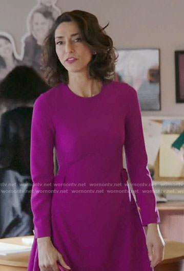 Delia's magenta long sleeved dress on Girlfriends Guide to Divorce