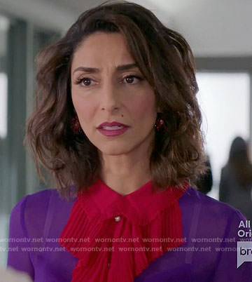 Delia's purple blouse with pink ruffle front on Girlfriends Guide to Divorce