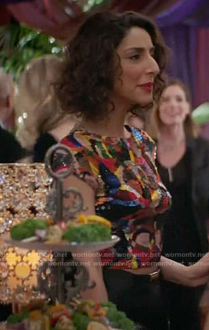 Delia's multi colored sequin top on Girlfriends Guide to Divorce